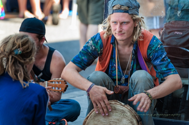 Street musicians and venders at Hawthorn Street Fair in Portland, Oregon
